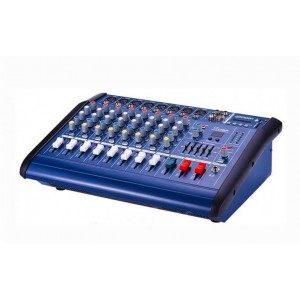 Mixer audio amplificat cu display digital, usb, sd card, 8 intrari de microfon