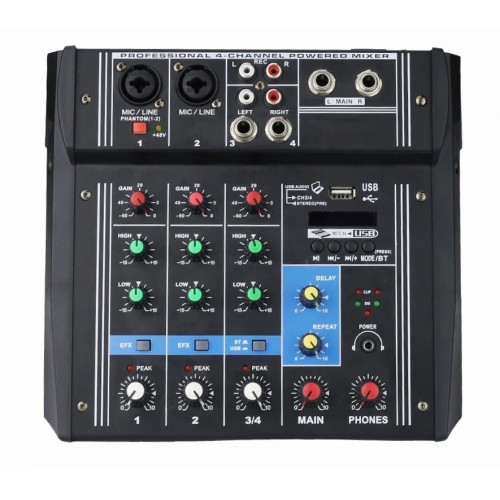 Mixer audio amplificat cu display digital, usb, sd card, 4 intrari 2 x 100 W